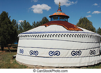 Scenery of a typical Mongolian ger on the grasslands