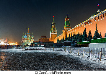 Landmark of Moscow, Russia - night shot of Red Square - view...