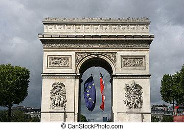 Landmark of Paris - Famous landmark of Paris, France. Arc de...