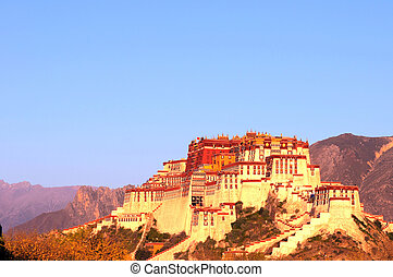 Landmark of the famous Potala Palace in Lhasa Tibet in a...