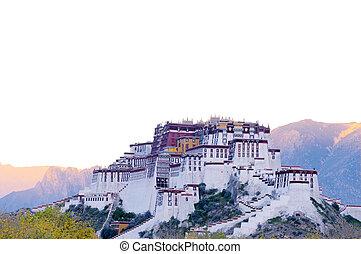 Landmark of the famous Potala Palace in Lhasa Tibet