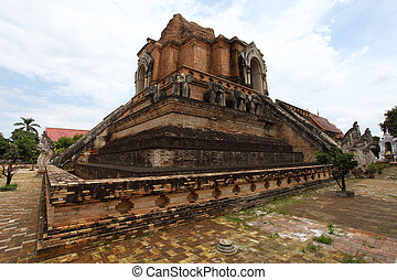Landmark of Wat Chedi Luang temple in Chiang Mai, Thailand.