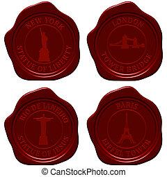 Landmark sealing wax stamp set for design use. Vector illustration.