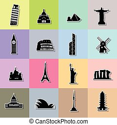 Landmark Silhouette icons on the colored square