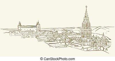Landmark view drawing of Toledo, Spain, brown colored...
