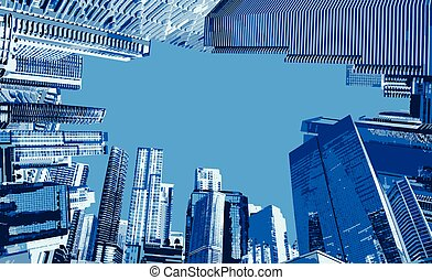 Landmark with building of Miami, USA. Watercolor splash illustration vector.