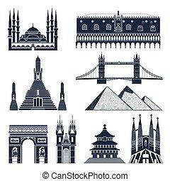 Landmarks And Monuments Black Set