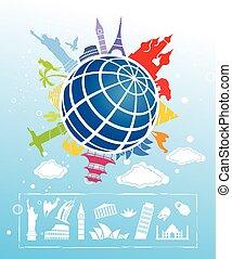 Landmarks around the World - A set of famous landmarks on a...