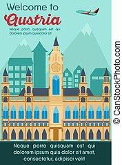 Travel destinations card. Trip to Austria