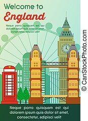 Travel destinations card. Trip to England - Landmarks banner...