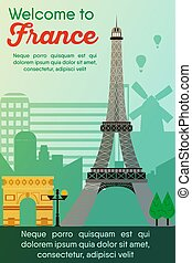 Travel destinations card. Trip to France - Landmarks banner...