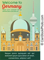 Travel destinations card. Trip to Germany