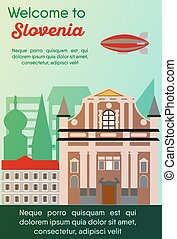 Travel destinations card. Trip to Slovenia - Landmarks...