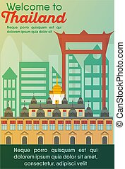 Travel destinations card. Trip to Thailand - Landmarks...