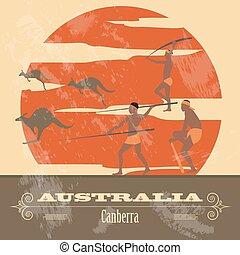 landmarks., disegnato, australia, retro