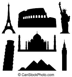 Landmarks. - Set of 7 silhouettes of world famous places.