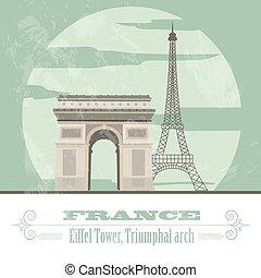landmarks., francia, retro, diseñar