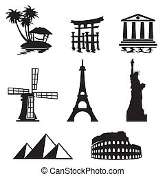 landmarks icons - black and white set icons - travel and...