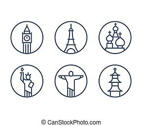 Landmarks icons set