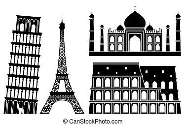 Landmarks. - Illustrations of world famous places.
