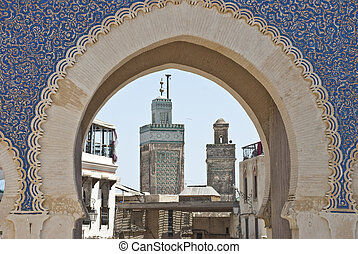 Landmarks in Fes - Part of the Blue Gate and minarets in Fes...