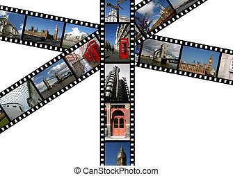 Illustration - film strips with travel photos. London in England, United Kingdom. All photos taken by me.