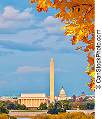 Landmarks in Washington DC - Lincoln memorial and US Capitol...