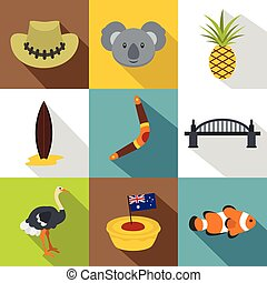Landmarks of Australia icon set, flat style