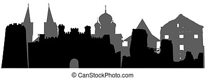 Landmarks of Belarus, silhouettes. Vector illustration