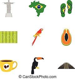 Landmarks of Brazil icon set, flat style