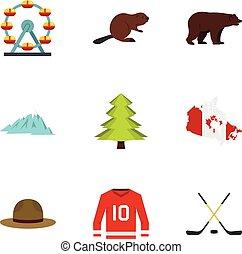 Landmarks of Canada icon set, flat style