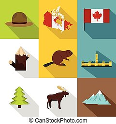 Landmarks of Canada icon set, flat style