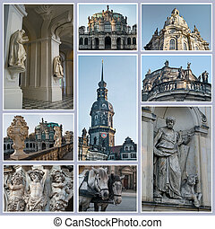 Landmarks of Dresden, Germany. Collage .