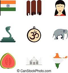 Landmarks of India icon set, flat style