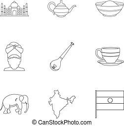 Landmarks of India icon set, outline style