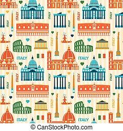 Landmarks of Italy seamless pattern - Landmarks of Italy,...