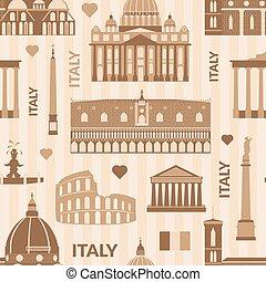 Landmarks of Italy seamless pattern