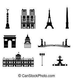 Landmarks of Paris, vector simple black and white icons