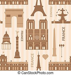 Landmarks of Paris monochrome seamless pattern