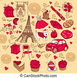 Landmarks of Paris - Vector background with landmarks of...