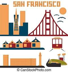 landmarks of San Francisco flat design