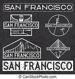landmarks of San Francisco grunge vintage labels set
