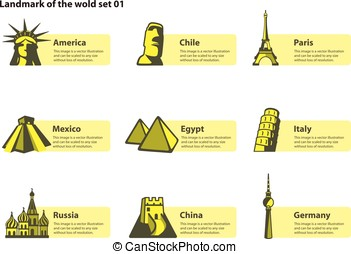 landmarks of the world, label of famous place