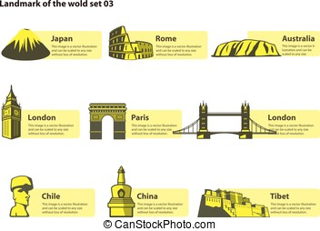 landmarks of the world, label of famous place, vector
