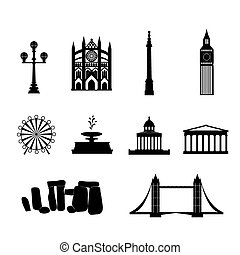 Landmarks of United Kingdom,vector simple black and white...