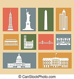 Landmarks of United States of America, vector colorful flat icons set