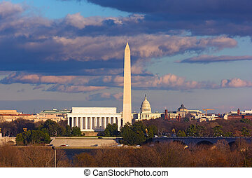 Landmarks of Washington DC - The view of Lincoln Memorial,...