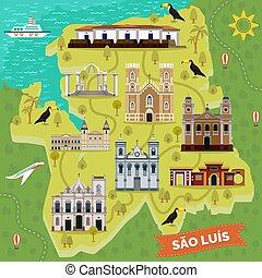 Sao Luis retro map with landmark places. Igreja da Se or cathedral of our Lady of Victory, Batista, Jose Sao Pantaleao, Largo dos Amores, Saint Antonio church, Raia fortification, Wang park. Sightseeing