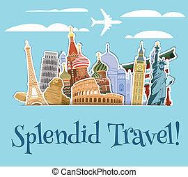Landmarks scrapbook background - World landmarks sticker...