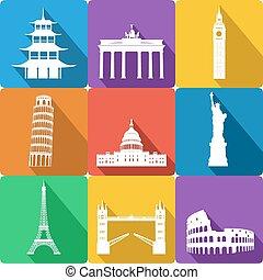 landmarks, vector illustration